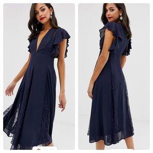 NWOT ASOS Blue MiDi Dress Lace Ruffle V-neck Sz 6